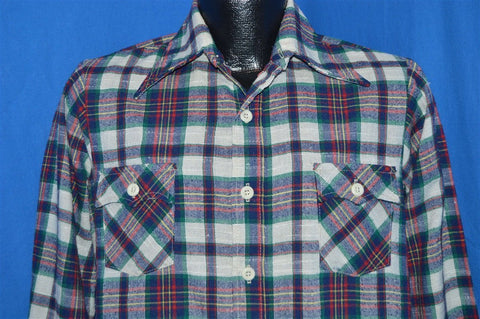 70s Blue Red Green Plaid Shirt Youth Extra Large