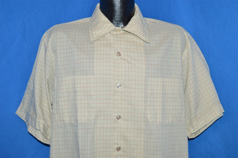 60s McGregor Green Tan Square Bottom Shirt Large