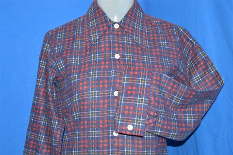 70s Red Blue Plaid Deadstock Shirt Youth Large