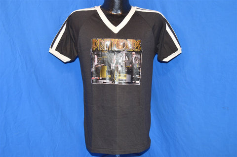 70s The Pretenders Glitter Iron On Black and White Striped V-Neck t-shirt Medium