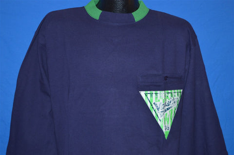 90s Mondior'a Sportswear Varsity Navy Blue and Green Long Sleeve Heavy Cotton t-shirt Extra-Large