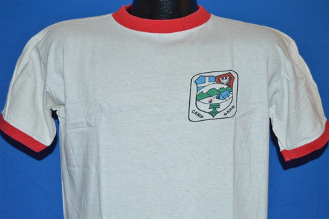 60s Camp Dahn Boy Scouts BSA White and Red Ringer t-shirt Large