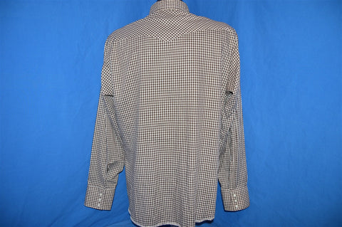 80s Wrangler Brown White Gingham Western Pearl Snap Shirt Large