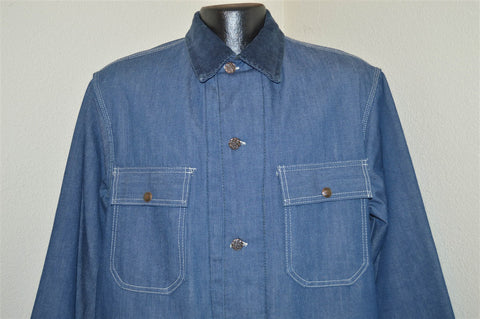 70s Sears Chore Blanket Lined Denim Railroad Jacket Large