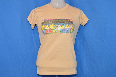 "80s Pac-Man ""Love to Play"" Arcade Video Game Glitter Iron On t-shirt Extra-Small"