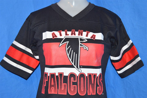 80s Atlanta Falcons Striped Black and Red V-Neck Raglan Sleeve Jersey t-shirt Youth Medium