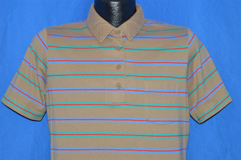 80s Sears Tan Striped Polo Shirt Youth Extra Large
