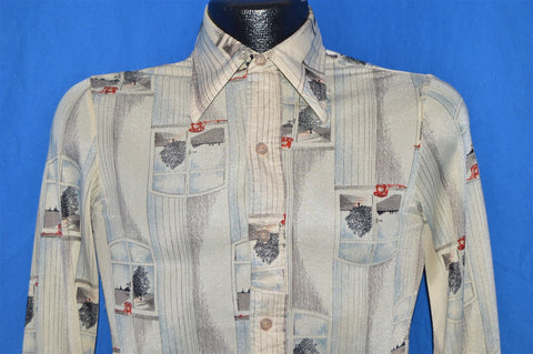 70s Hutspah Window Rotary Phone Print Disco Shirt Extra-Small