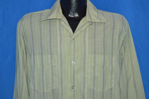 60s Shapely Green Striped Loop Collar Shirt Large