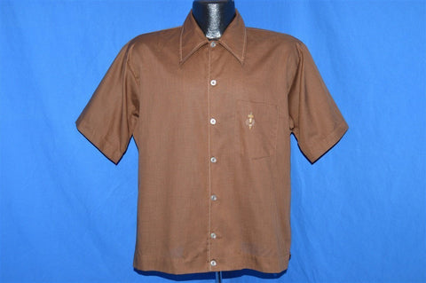 70s Brown Big Collar Button Down Shirt Large