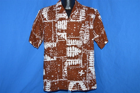 60s Tahiti Imports Brown Tropical Leaf Aloha Shirt Medium