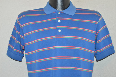 80s Shelfield Blue Striped Polo Shirt Medium
