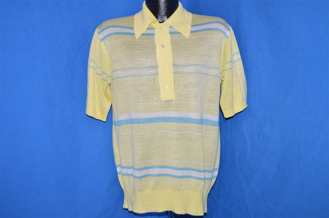 70s Mister Man Yellow Knit Blue Striped Polo Shirt Medium