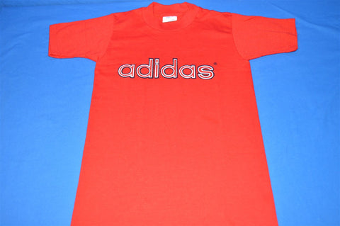 70s Adidas Red White Logo Deadstock t-shirt Youth Small 6 - 8
