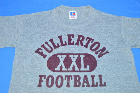 80s Fullerton Football Heathered Gray Rayon Tri Blend t-shirt Youth Small