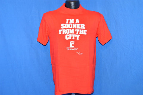 "70s ""I'm a Sooner from the City"" First City Bank Oklahoma City OU College Sports t-shirt Medium"