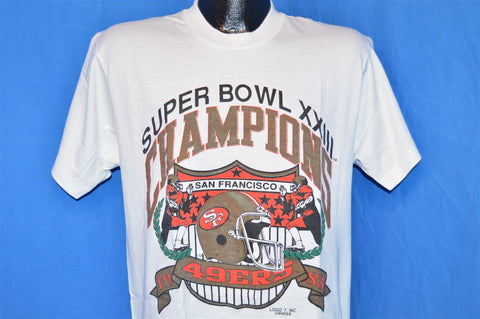 80s San Francisco 49ers Super Bowl XXIII Champs Logo 7 t-shirt Large