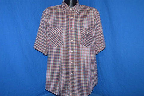 80s Red Blue Plaid Button Down Shirt Extra Large
