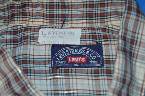 80s Levi's Brown Metallic Gold Plaid Shirt Extra Large