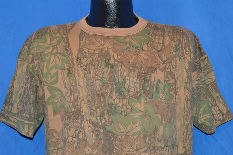 90s Camouflage Tree Bark Woodland Camp Hunting Pocket t-shirt Extra-Large