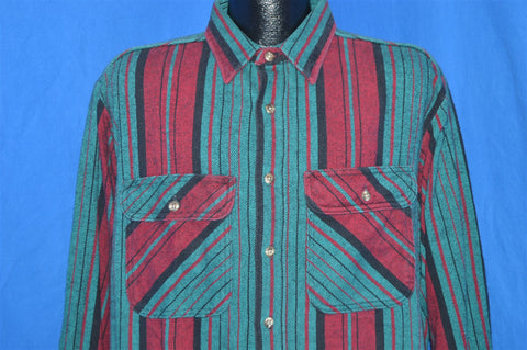 80s Flannel Teal Red Striped Button Down Shirt Extra Large