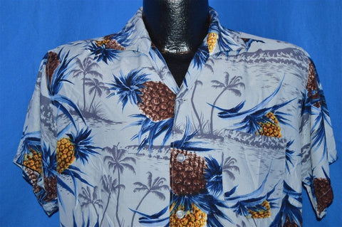 50s Sears Pineapple Rayon Aloha Shirt Medium
