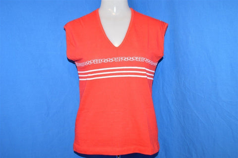 80s Levi's 1980 Olympics Red White Logo Stripe V-Neck t-shirt Womens Small