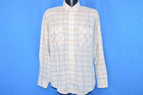 80s Levi's Beige Multi Plaid Button Down Shirt Large Tapered Fit Scalloped Pocket