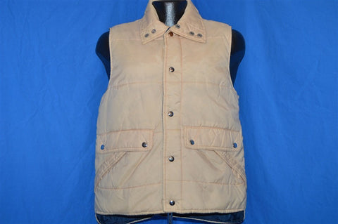 70s Alto Tan And Blue Snap Up Ski Vest Small