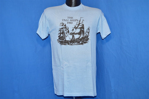 80s The Tall Ships 1980 Sail Boat Light Blue t-shirt Small
