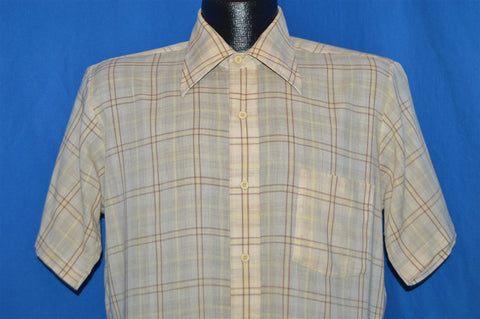 70s Beige Brown Plaid Button Shirt Medium