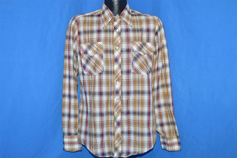 70s Sears Style Works Brown Plaid Pearl Snap Shirt Medium