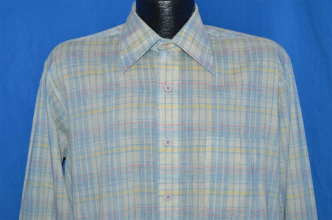 70s Pastel Yellow Blue Plaid Shirt Large