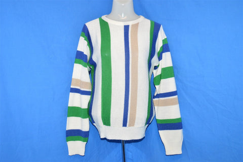 70s White Green Blue Vertical Stripe Sweater Women's Small