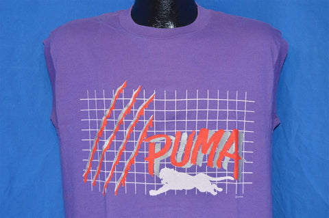 80s Puma Grid Print Sleeveless Purple t-shirt Large