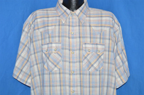 80s Dee Cee Pastel Plaid Short Sleeve Pearl Snap Shirt 3XL