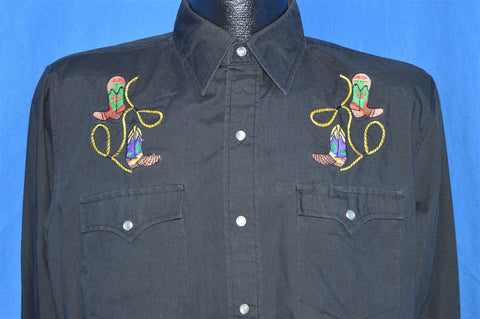 90s Youngbloods Embroidered Boot Pearl Snap Shirt Medium
