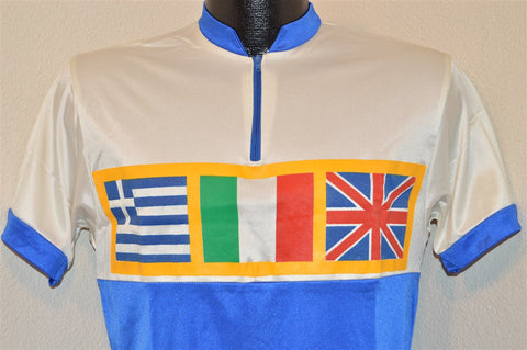 80s Sportco Blue White Flags Cycling Jersey t-shirt Medium