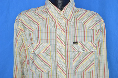70s Wrangler Striped Western Pearl Snap Shirt Extra Large