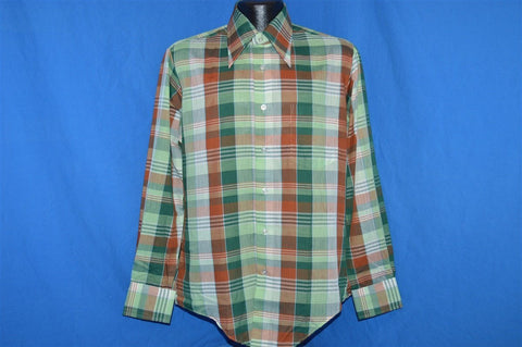 70s Green Brown Plaid Deadstock Shirt Medium