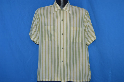 60s Haband Green White Striped Button Down Shirt Medium