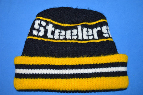 80s Pittsburgh Steelers Striped Beanie Winter Hat