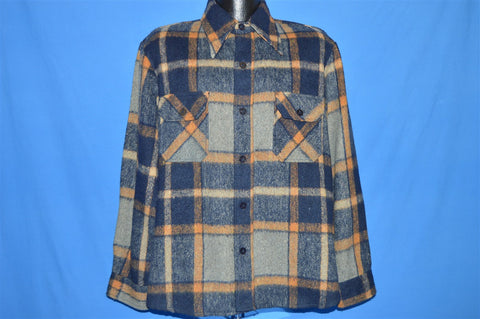 70s Plaid Button Up Wool shirt Large