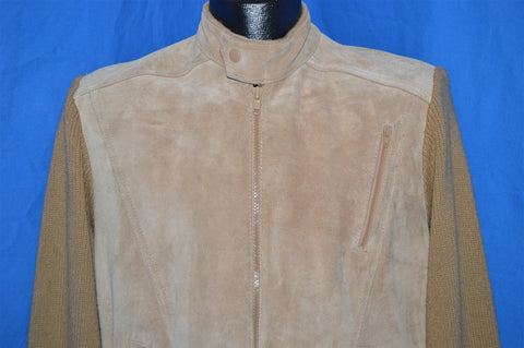 70s Suede Leather Sweater Jacket Men's Small