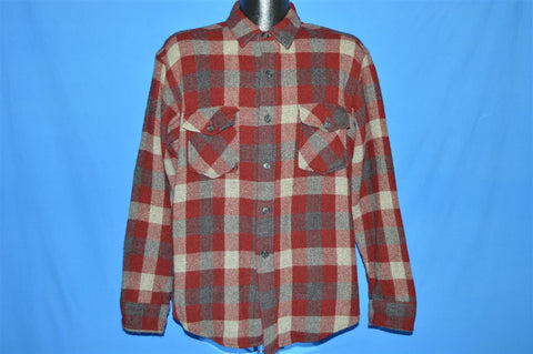80s Plaid Wool Button Down shirt Large