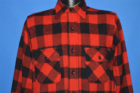 60s Buffalo Plaid Wool Hunting shirt Small