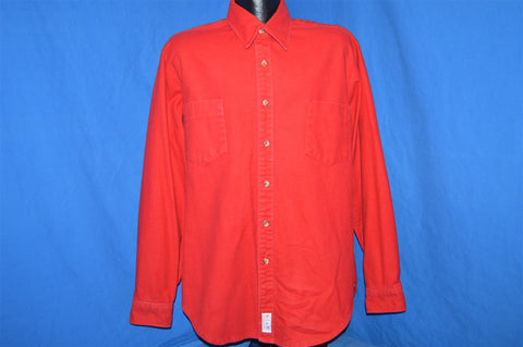 80s Red Warm Flannel Camping Button Down Shirt Large