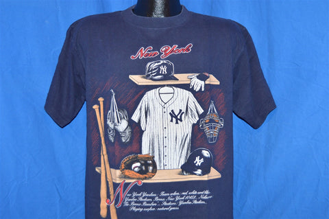 90s New York Yankees Locker Room Dark Blue t-shirt Large