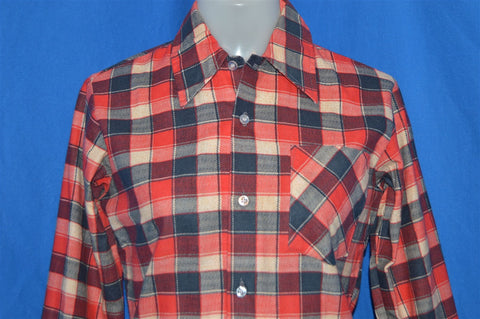 70s Sugarbush Blue Red Plaid Flannel Shirt Youth Large