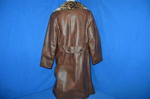 70s Faux Leather Coat with Leopard Collar Women's Large